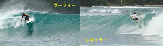 レギュラーとグーフィーの波