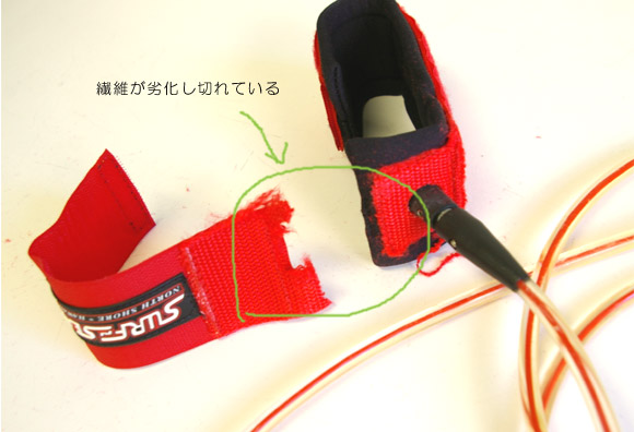 リーシュコード足首固部の繊維劣化