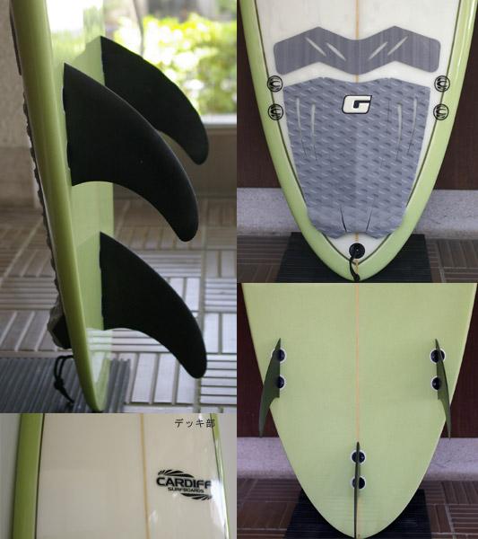CARDIFF 中古ファンボード 7`6 fin/tail bno9629622c