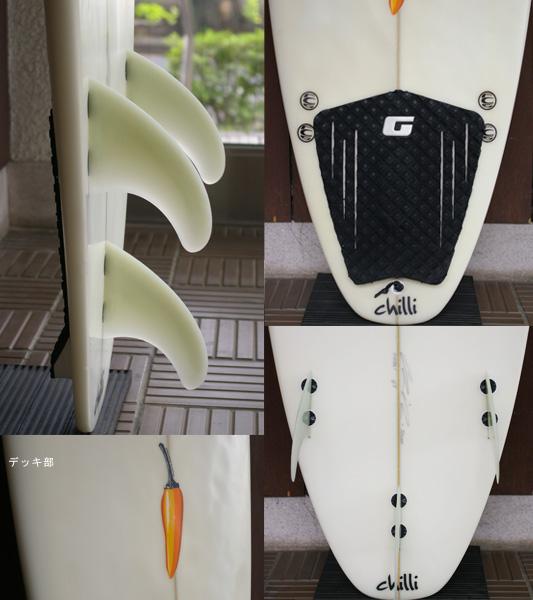 chilli 中古ショートボード 6`5 fin/tail bno9629644c