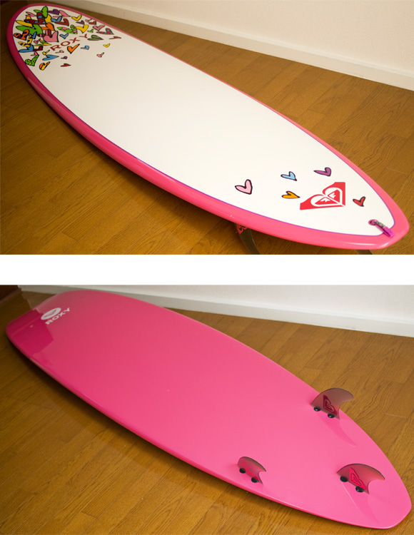 ROXY 中古ファンボード A LOT OF HEART EPOXY 8`0 deck/bottom-detail bno9629742b
