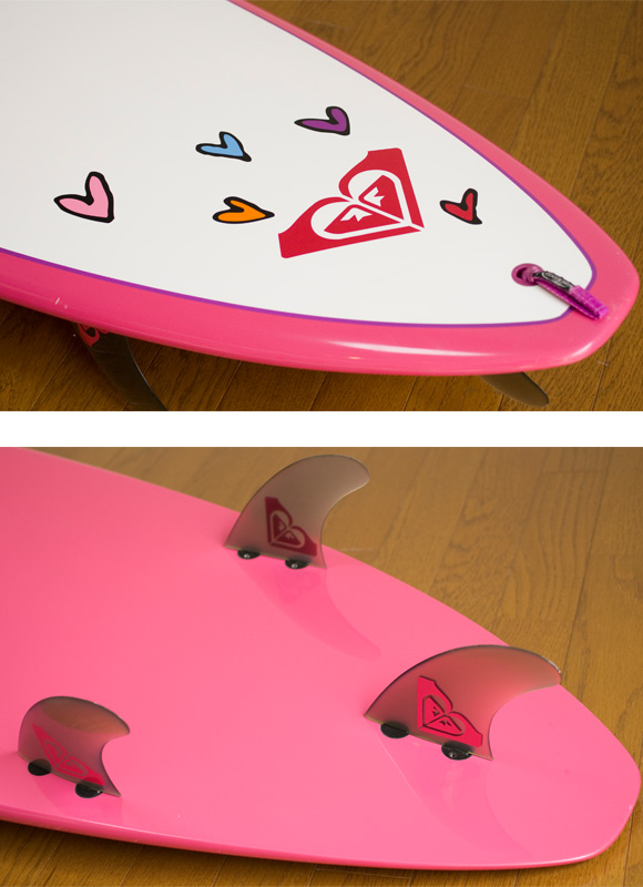 ROXY 中古ファンボード A LOT OF HEART EPOXY 8`0 fin/tail bno9629742d