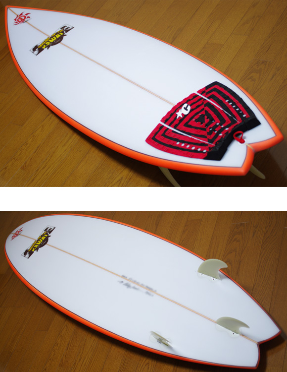 KAWAI Surfboards 中古ショートボード 6`2 deck/bottom-detail bno9629780b
