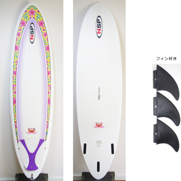 NSP Surfbetty 中古ファンボード6`8 deck/bottom bno9629809a