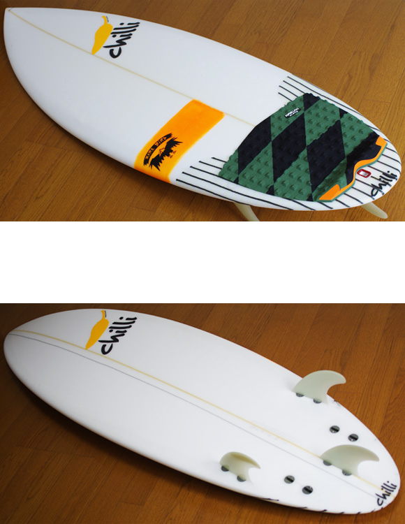 chilli RARE BIRD 中古ショートボード 5`6 deck/bottom-detail bno9629885b