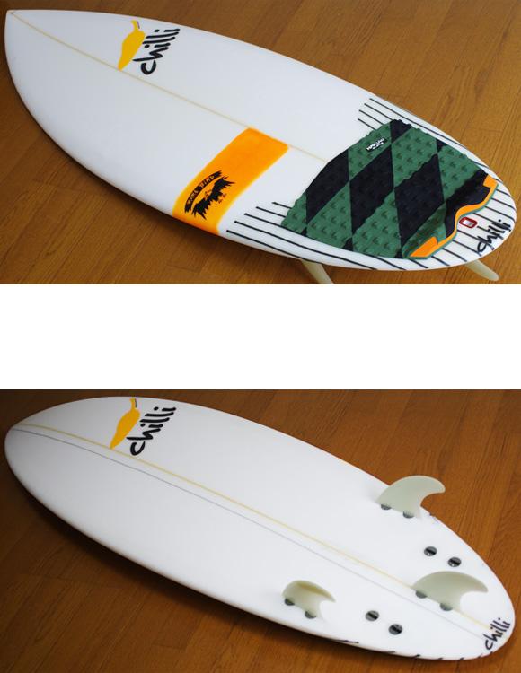 chilli RARE BIRD 中古ショートボード 5`6 deck/bottom-detail bno9629885b