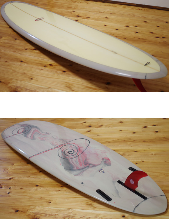 VELZY SURFBOARDS 中古ファンボード7`6 deck/bottom-detail bno9629964b