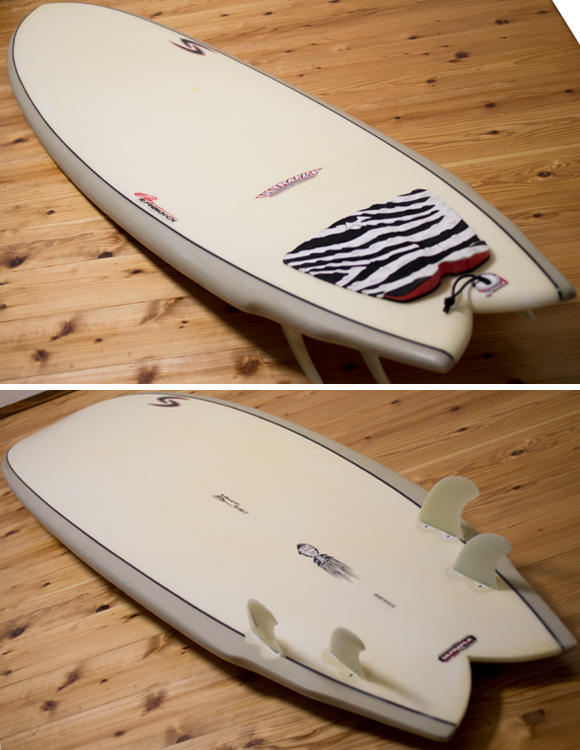 RANDY FRENCH SURFTECH ULTRAFLEX QUADFISH 中古ファンボード 7`8 deck/bottom-detail bno96291078b