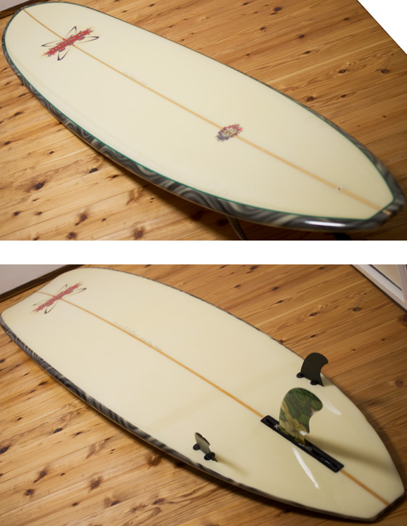 RUSS-K × Dick Brewer 中古ロングボード 9`1 deck/bottom-detail bno96291109b