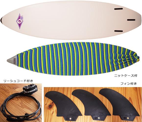 BIC SURF 中古ショートボード 6`7 bottom/ニットケース bno96291220a