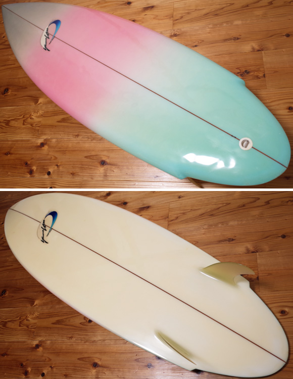 Yoshinori Ueda Surfboards 80`S 中古/Vintage TWIN FIN 5'10 deck/bottom No.96291273