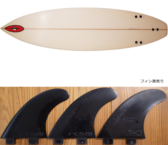 BYRNING SPEARS 中古ショートボード 6`4 CUSTOM ROD fin/OPTION No.96291406