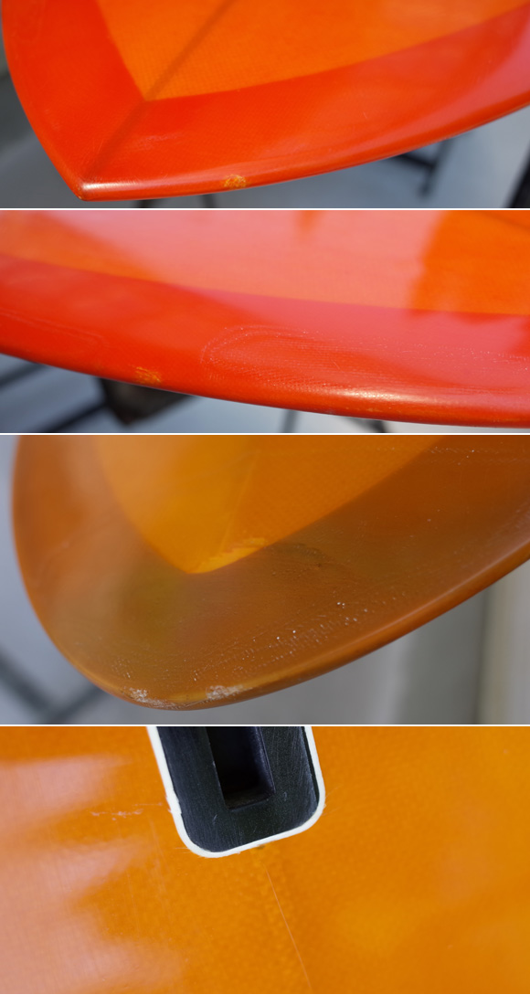 MICHAEL MILLER SURFBOARDS explorer egg 6`6 repair-入荷時の傷、ダメージのコンディション1
