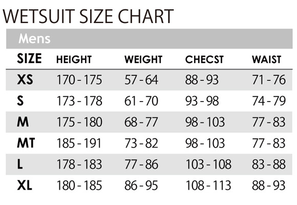 OCEAN&EARTHウェットスーツ MENS WETSUIT SIZE CHART