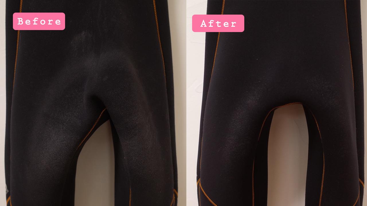 ウェットスーツのワックスの落とし方・洗い方「ビフォー・アフター」