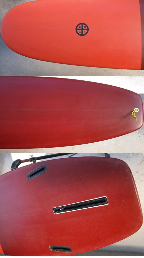 「仕入れ情報」RMDサーフボード 7`4の中古ミニロング入荷 deck & tail