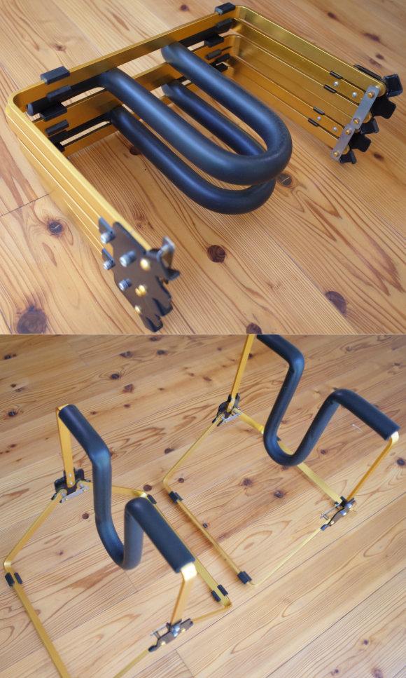サーフボード 中古ワックスアップスタンド Easy Stand DELUXE アルミ 折り畳み時と設置時 (No.96291589)